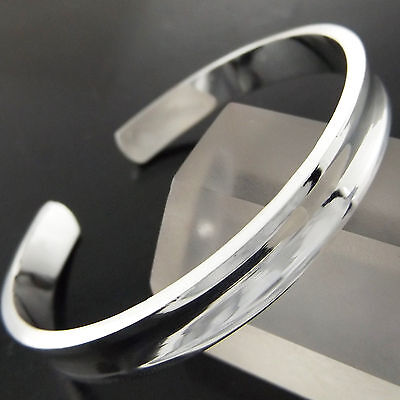 A275 Genuine Real 925 Sterling Silver S/f Mens Ladies Solid Cuff Bangle Bracelet