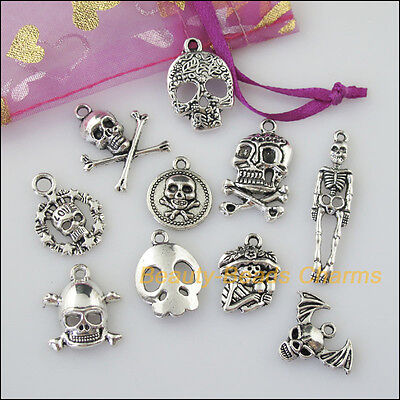 10 New Mixed Lots of Tibetan Silver Tone Halloween Skull Charms Pendants