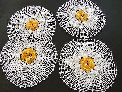 3 Piece White Hand Crocheted Duchess Doily Set - Variegated Orange Floret Centre