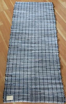 "Denim Blue Jean Woven Rag Rug Hand Loomed 65"" x 28"" New USA Made Machine Wash"