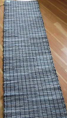 "Denim Blue Jean Woven Rag Rug Hand Loomed 94"" x 28"" New USA Made Machine Wash"