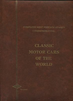 Red Kenmore KEK 16 Black Page Stamp Stockbook Classic Motor Cars of The World