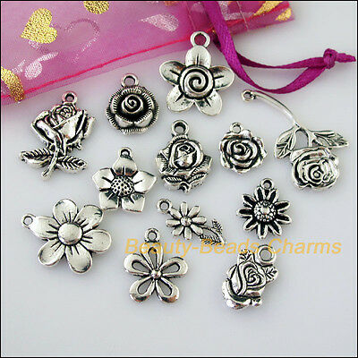 12 New Mixed Lots of Tibetan Silver Tone Flower Charms Pendants
