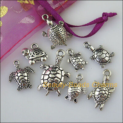 16 New Mixed Lots of Tibetan Silver Tone Animal Tortoise Charms Pendants