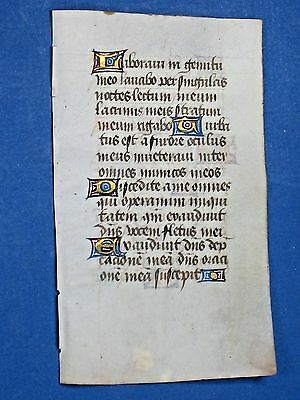 Medieval Book of Hours Manuscript Leaf,Vellum,Deco Gold Initials&,ca.1465