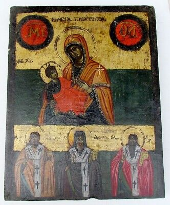 ANTIQUE late 18th CENTURY LARGE GREEK ICON OF HOLY VIRGIN & SELECTED SAINTS