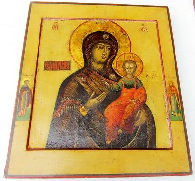 ANTIQUE 18th CENTURY RUSSIAN ICON OF HEDEGETRIA MOTHER OF GOD