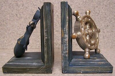 Bookends Sports Ship's Anchor and Wheel Pair Book Ends NEW