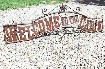 Outdoor Welcome to the CABIN Sign Metal Art Wall Entry Fence or Gate 44 3/4 inch