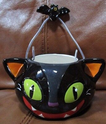 Halloween Ceramic black cat with bat attached candy bowl