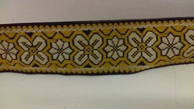 Vintage 60's 70's Yellow Woven Guitar Strap Psych Hippie Woodstock Rocker!!