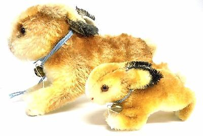 """Steiff Rabbits Pair Vintage Mohair Sawdust Filled Large 7"""" Small 4""""  Estate Find"""
