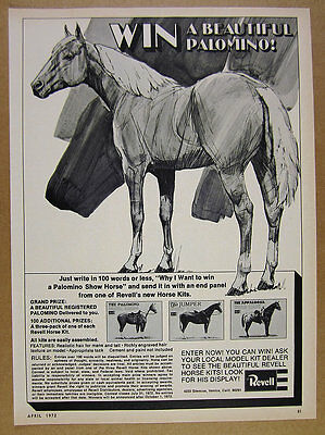 1972 Revell Horse Kits Win a Palomino Show Horse contest vintage print Ad