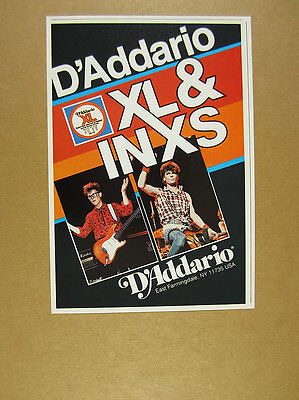 1986 INXS guitarists photo D'Addario XL Guitar Strings vintage print Ad