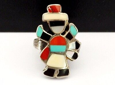 Old ZUNI Eleanor Weeka Sterling Silver Kachina Dancer Turquoise Size 8 1/2 Ring