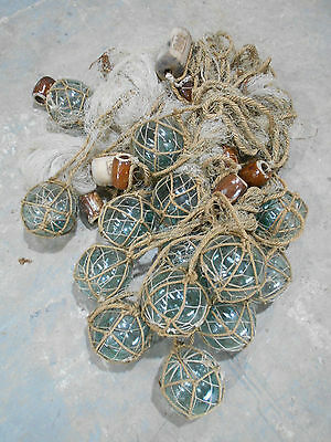 Vintage Glass Fishing Floats in bunch Japanese Glass and Medium Net #666