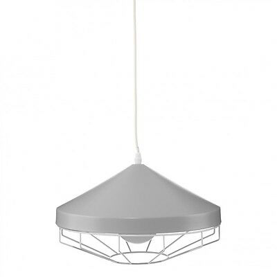 "Paris Prix - Lampe Suspension Métal ""Smile"" 34cm Gris"