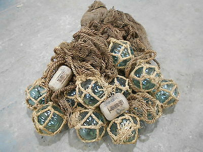 Vintage Glass Fishing Floats x 15  in bunch Japanese Glass and Large Net #670