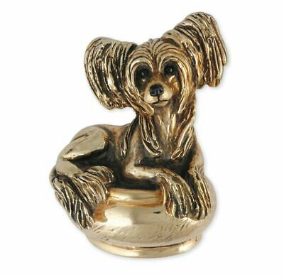 Chinese Crested Figurine Box Jewelry Yellow Bronze Handmade Dog Figurine Box CC1