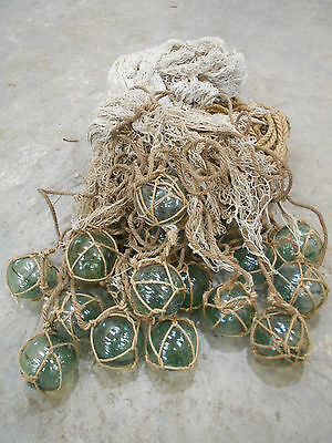 Vintage Glass Fishing Floats x 17 in bunch Japanese Glass and Medium Net #677