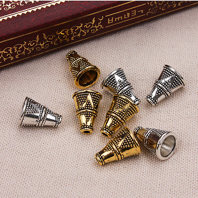 20Pcs Tibetan Silver Cone Tube Spacers Beads Caps DIY Jewelry Making Accessories