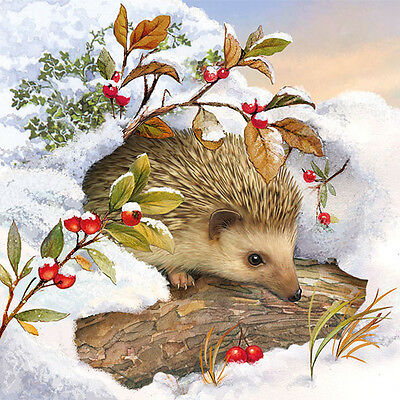 Servietten 20, Serviettentechnik Hedgehog in Snow Igel Ambiente 33 x 33