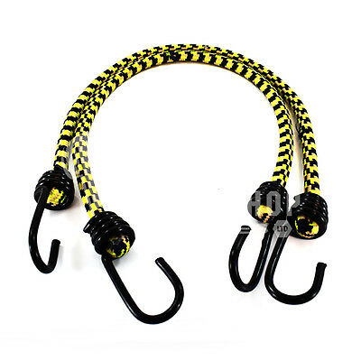 MUSTARD YELLOW 10mm LUGGAGE ELASTICS BUNGEE STRAPS SHOCK CORD SPIRAL HOOK ENDS