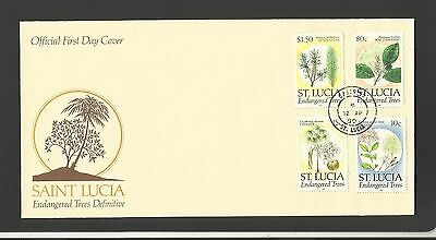 Saint Lucia ~ 1990 Fdc Endangered Trees Definitives