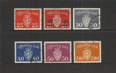 Norway Norge ~ 1945-49 Official Service Stamps (Part Set) Used