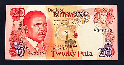 Botswana 20 pula 1982 Masire - P10a - Signature 3 - UNC - Low Serial Number E/3