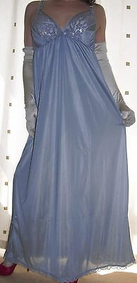 Silver silky nylon long lace bra full slip~nightie X~Large plus size  BNWOT