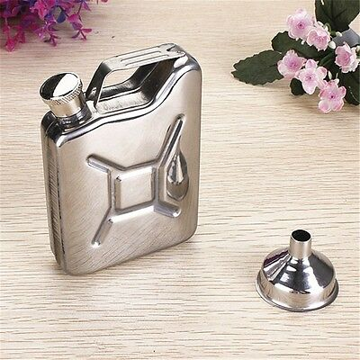 5oz Stainless Sliver Jerry Can Hip Flask Liquor Whisky Pocket Bottle + Funnel