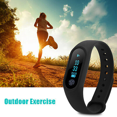 Black M2+ Bluetooth Smart Bracelet Sport Wristband Watch Heart Rate Monitor DH