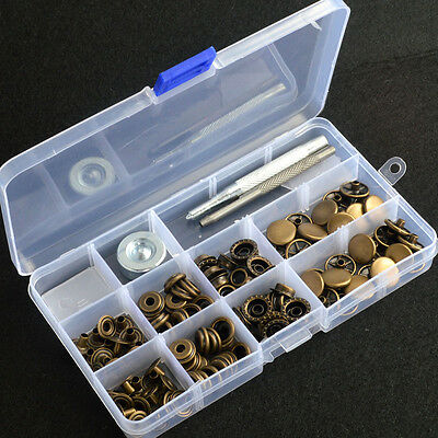 inBox Antique Brass Snap Fasteners 15mm 30 Sets Press Stud Kit Button w/Tools AU