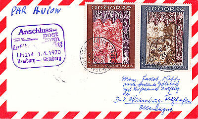 Andorra : F218 & F219 Stamps On First Flight Postcard To Goteborg (1970)