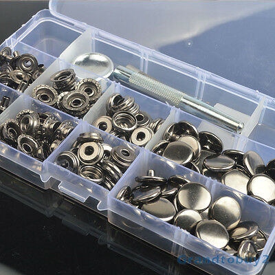 inBox Gunmetal Black Snap Fasteners 15mm 30 Sets Press Stud Kit Button w/Tool AU
