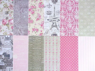 "Dovecraft Sweet Paris 8x8"" Scrapbook Papers - 12 sheets - vintage style"