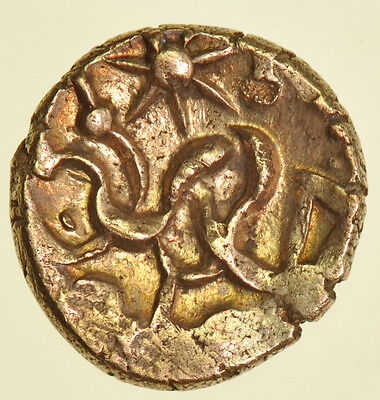 CORIELTAUVI, CELTIC GOLD STATER, (c50-20BC) EARLY UNINSCRIBED SOUTH FERRIBY TYPE
