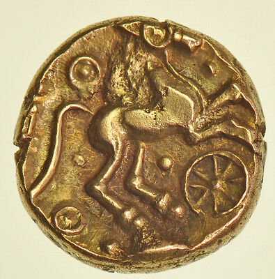 TRINUVANTES, ADDEDOMAROS CELTIC GOLD STATER, (c45-25BC) CRUSSED WREATH