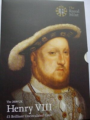 Five Pound £5 2009 Crown Henry VIII in Official Royal Mint Pack