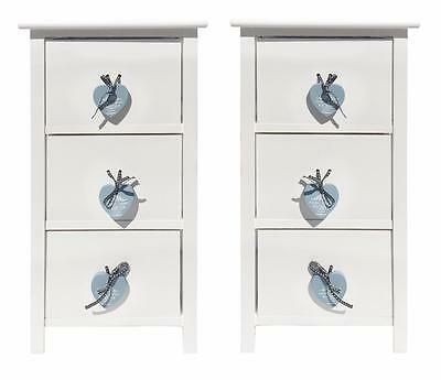 Set of 2 Heart White 3 Chest of Drawer Kids Baby Bedroom Bedside Table Cabinet