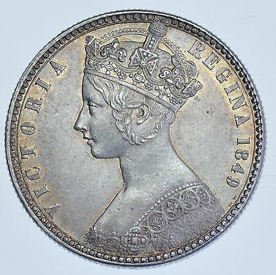 "1849 ""GODLESS"" GOTHIC FLORIN BRITISH SILVER COIN FROM VICTORIA aBU"