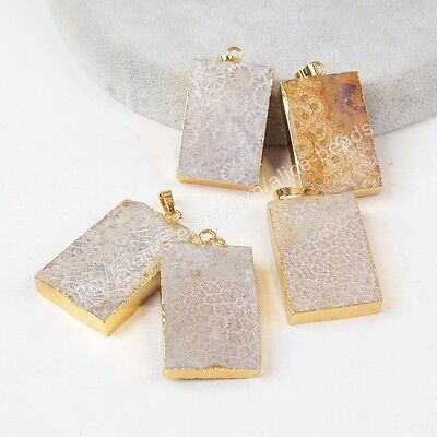 SALE! RANDOM 1Pcs Rectangle Natural Coral Fossil Gold Plated Pendant HG1271