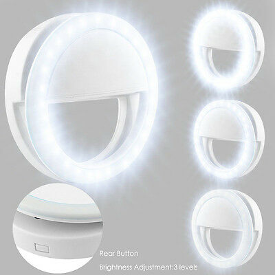 New Selfie Portable LED Ring Fill Light Camera Photography Cell Phone White - US
