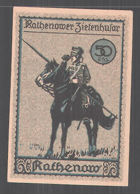 Notgeld Rathenow, 50 Pfennig, Rathenower Zietenhusar, Stadtmotiv