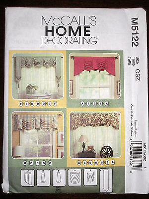 McCalls Window Treatments Valances Swag Bell Jabot Curtains Sewing Pattern 5122