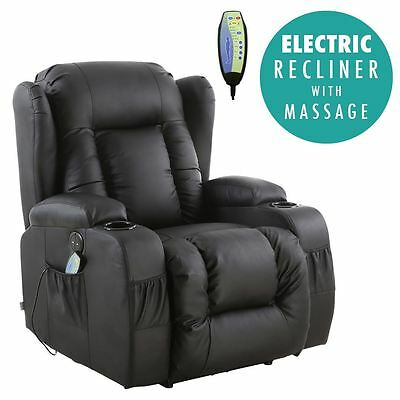 Caesar Black Electric Leather Auto Recliner Massage Heated Gaming Wing Chair