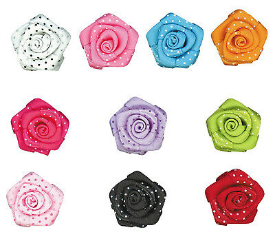 "NEW 21mm 7/8"" 3D Rose 16mm Polka Dots Satin Ribbon  Eco Quality Party Gift Craft"