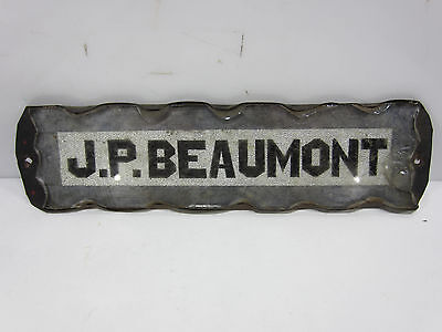 Antique J.P. Beaumont Glass Name Plate for Decor Use