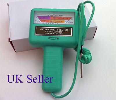 WATER PH/CL2 CHLORINE TESTER METER for Swimming Pool, Sauna, Spa.